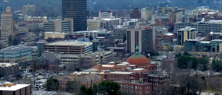 An aerial view of the city of Asheville.
