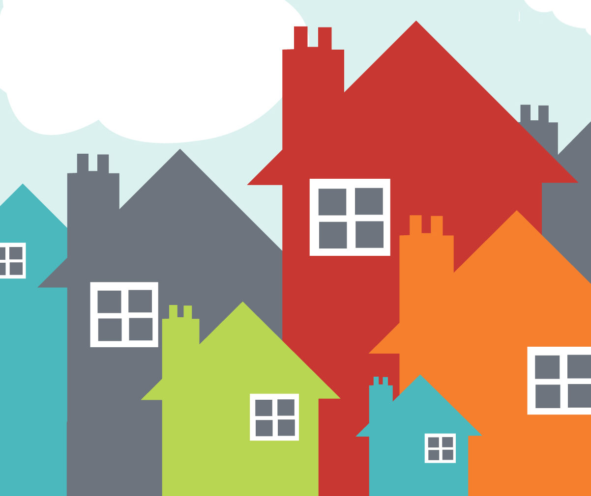 An illustration of houses in various sizes and colors.
