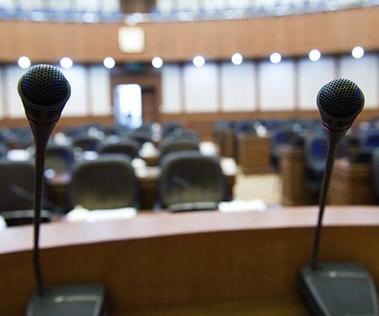 Microphones at a Speaking Podium