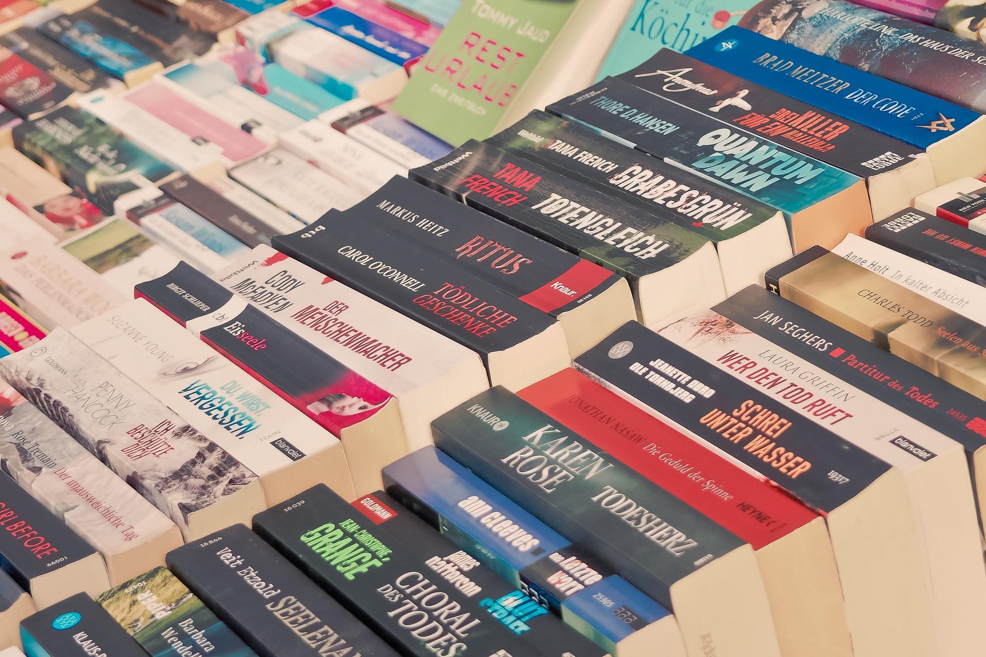 Dozens of book spines.