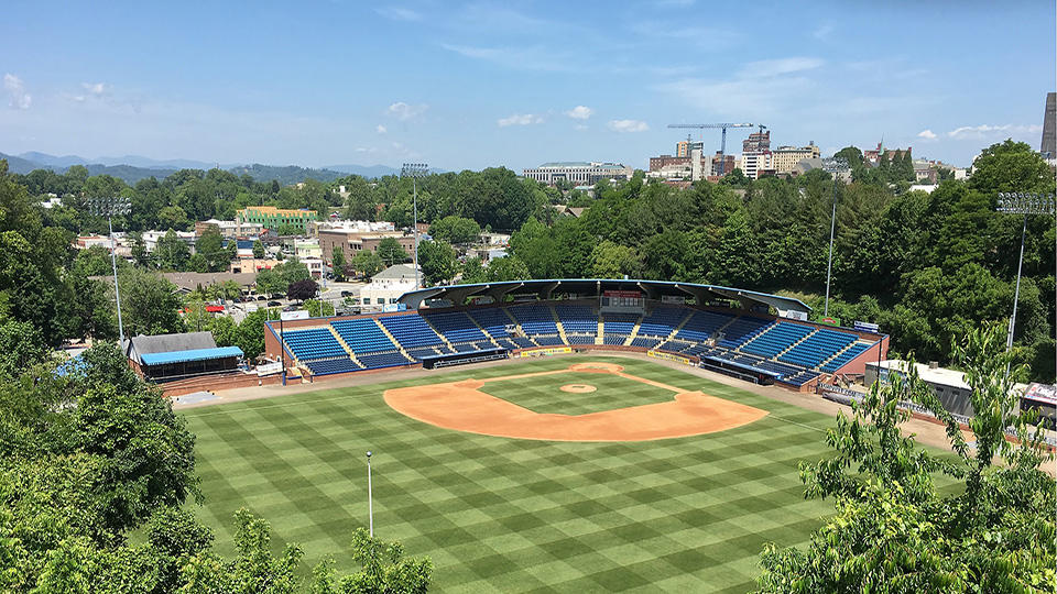 The view of the Asheville Tourists' McCormick Field from afar.