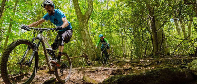 Bikers cycling down a mountain trail.