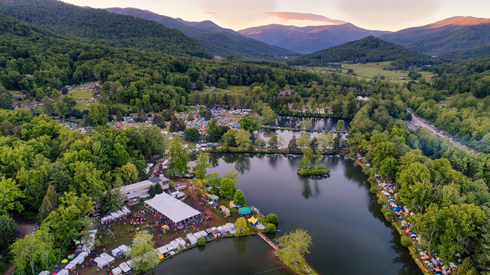 An aerial view of LEAF Festival at Lake Eden in Black Mountain.