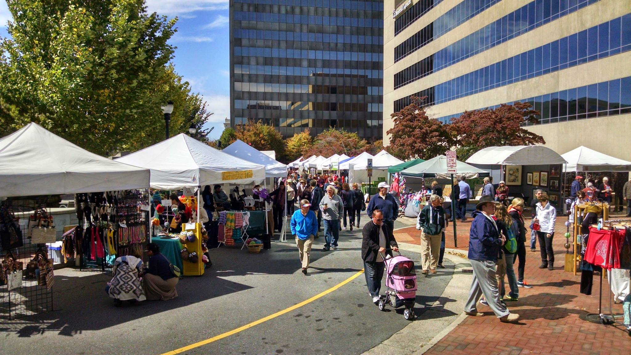 A lively crowd at Asheville Art in the Park in Pack Square Park.