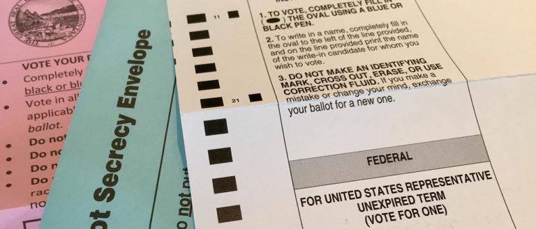 A paper absentee ballot for an election.
