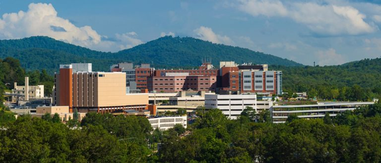 The Mission Health campus surrounded by the Blue Ridge Mountains.