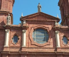The brick exterior of the Basilica of St. Lawrence.