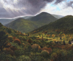 An oil painting of the Blue Ridge Mountains on a cloudy day.