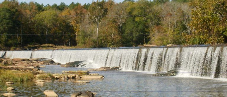 The Haw River crosses over a spillway near Pittsboro in Chatham County.