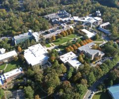 An aerial view of the UNC Asheville campus.