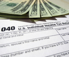 Cash on an income tax form.