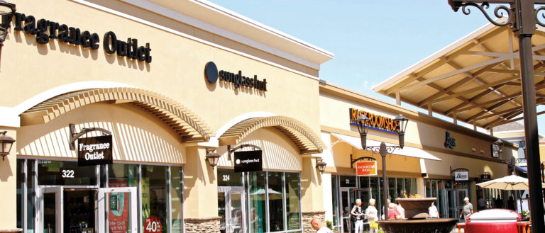 A row of outlet stores.