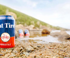 Cans of beer on the shore of a lake.