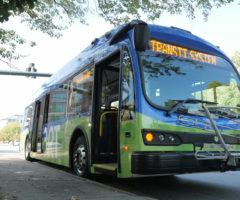 A transit bus alongside a sidewalk.