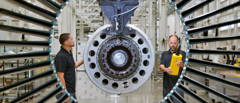 The Pratt & Whitney Geared Turbofan™ PW1100G-JM engine at the West Palm Beach Engine Center in Florida.