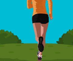A person running through a trail.