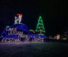 Holiday lights at Lake Julian Festival of Lights.