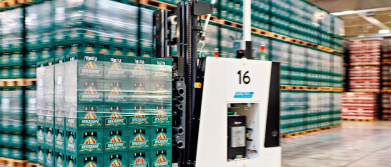 A robot moving cargo in a warehouse.