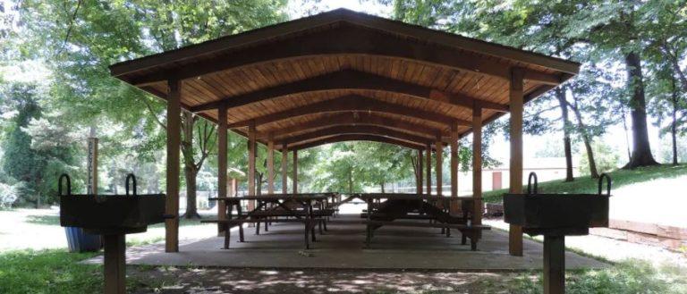 A picnic shelter at a park.