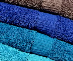An assortment of colored towels.