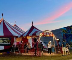 A red and white circus tent.