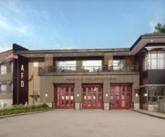 A rendering of a fire station.