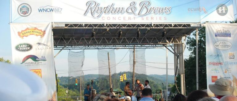 The Rhythm & Brews Concert Series stage in downtown Hendersonville.