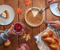 A table full of Thanksgiving desserts.