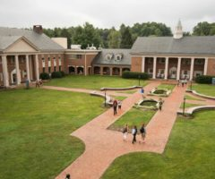 Students walking across the quad at Brevard College.