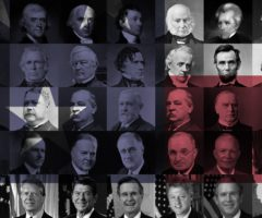 A collection of portraits of past presidents.