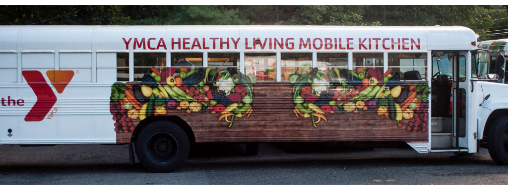A mobile food bus for YMCA Healthy Living.