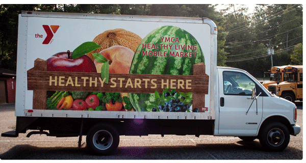 A mobile food truck for YMCA Healthy Living.