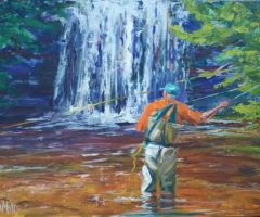 """An oil painting titled """"Solo Cast"""" by Jennifer Mills, an emerging artist living in Tryon."""
