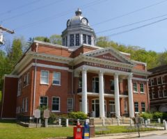 The exterior of the Madison County Courthouse in Marshall, NC