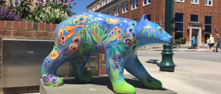 A large painted bear for the Annual Bearfootin' Art event in Hendersonville.