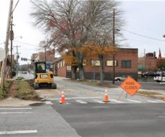 Road construction taking place for the Fourth Avenue streetscape project.