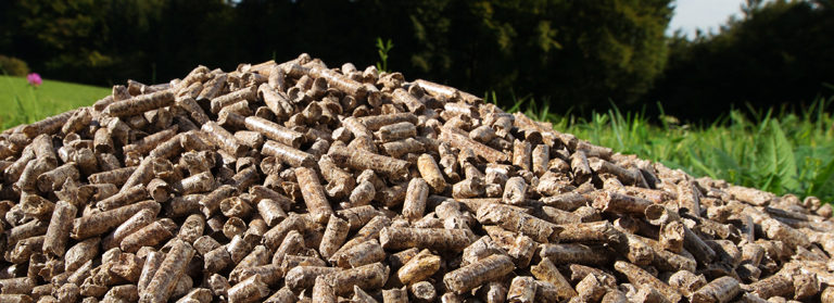 A pile of wood pellets used for biomass fuel.