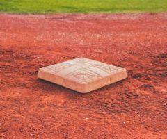 A base on a baseball field.