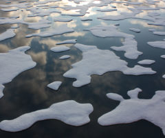 Ice melting in the middle of a sea.