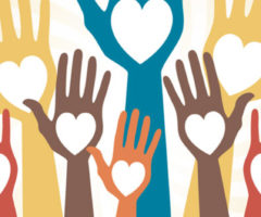 Hands with hearts to help raise awareness for important community issues.