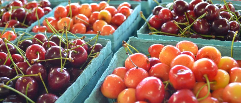 Multiple types of cherries at a farmers market.