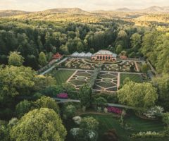 An aerial view of a large walled garden.