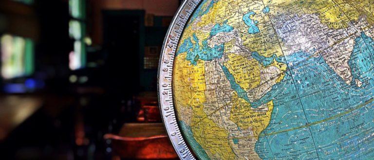 A globe inside a school classroom.