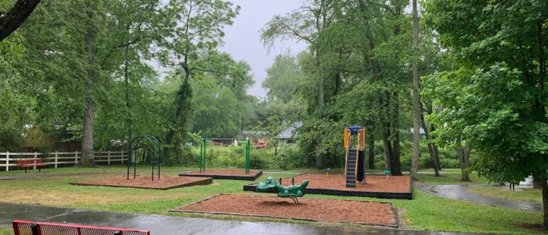 A playground on a rainy day.