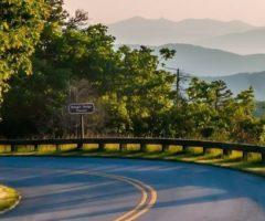 A road winding through a mountain.