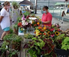 A person shopping at an outdoor farmers market.