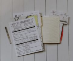 Documents on a table.