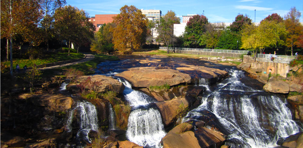 Falls Park during a bright fall day.