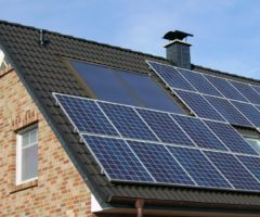 Solar panels on a roof of a home.