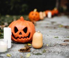 Halloween decorations on a sidewalk.